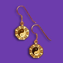 14k Bagua french wire earrings