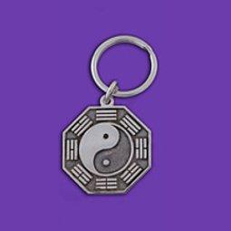 Silver bagua keychain