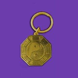 Gold bagua keychain