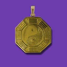 Large 14K bagua pendant